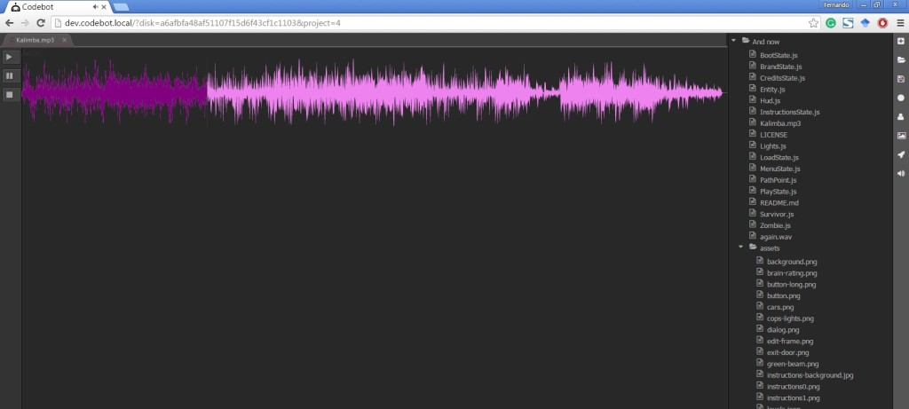 Codebot cuilt-in sound editor